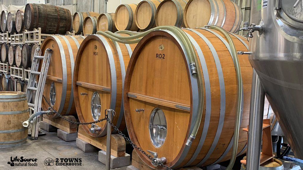 2Towns Hard Cider Ageing In Barrels