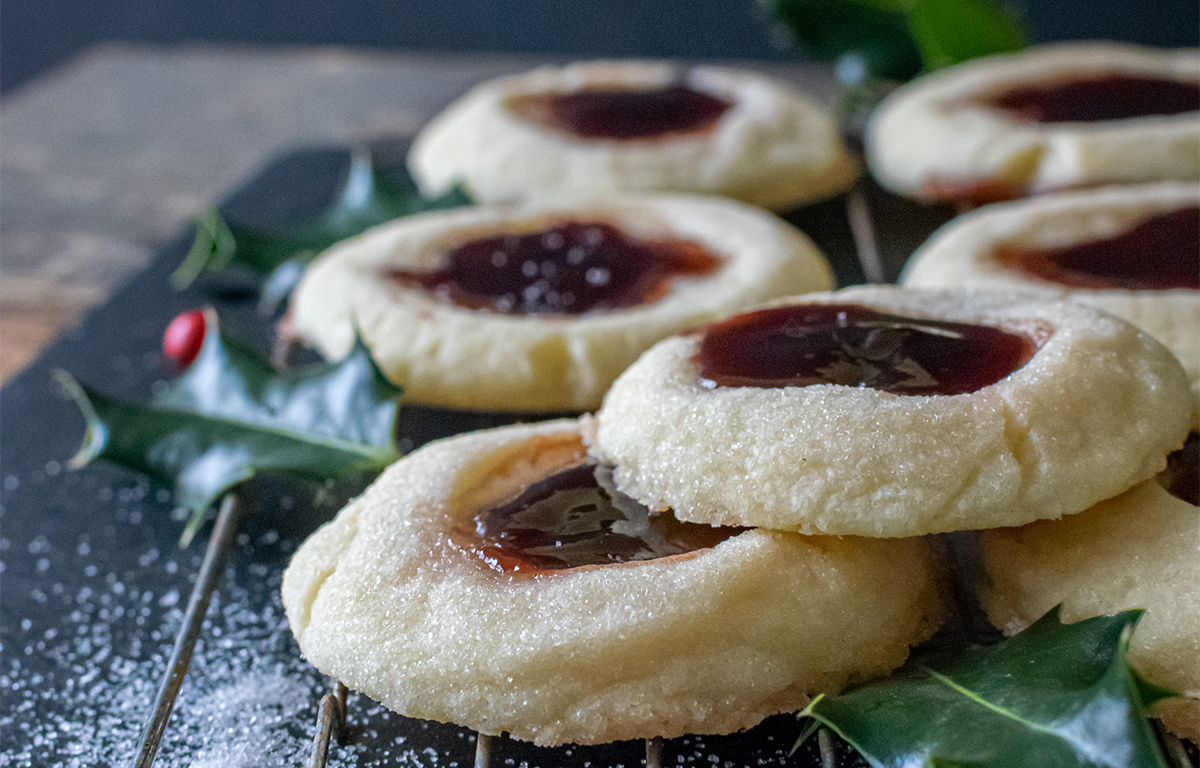 Shortbread with Jam-filled Thumbprints